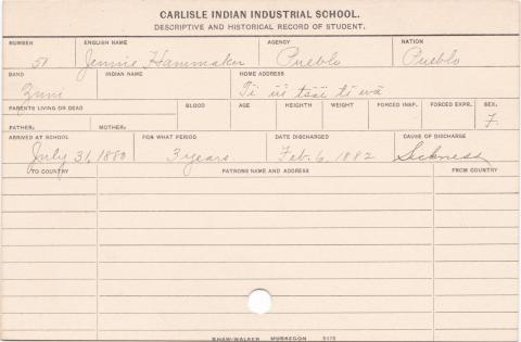 Jennie Hammaker Student Information Card