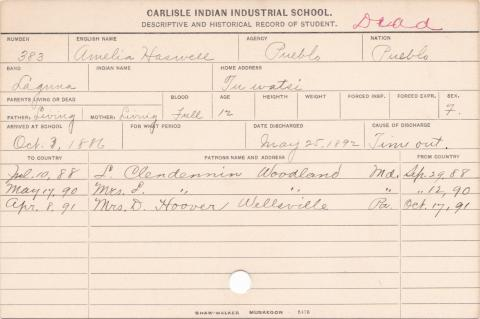 Amelia Haswell Student Information Card