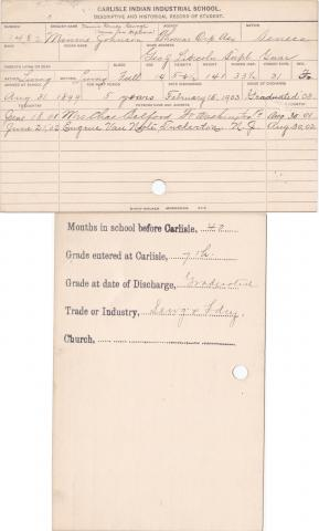 Minnie Johnson Student Information Card