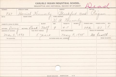 Harriet Kennerly Student Information Card
