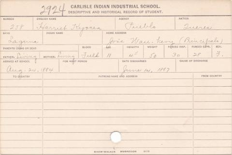 Harriet Kyocea Student Information Card