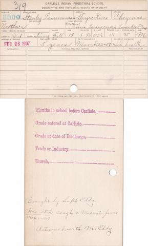 Stanley Lamewoman Student Information Card
