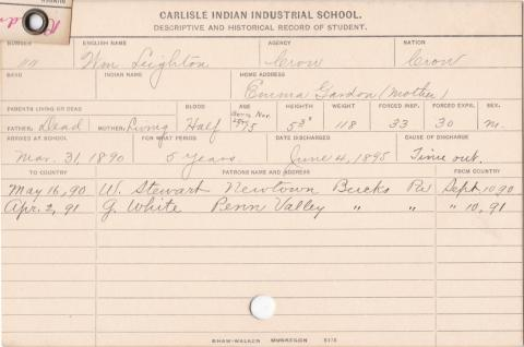 William Leighton Student Information Cards