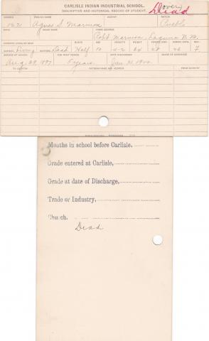 Agnes Marmon Student Information Card