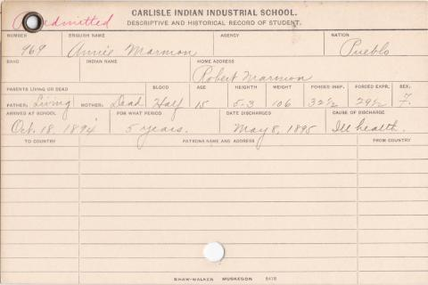 Annie Marmon Student Information Cards