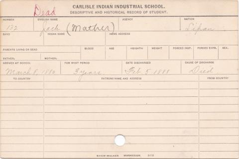 Jack Mather Student Information Card