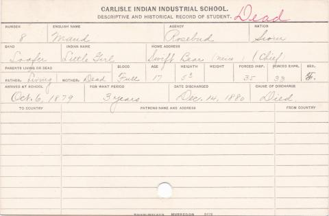 Maud (Little Girl) Student Information Card