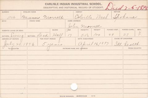 Mamie Morrell Student Information Card