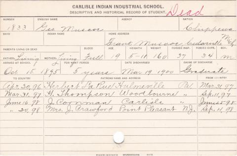 George Muscoe Student Information Card
