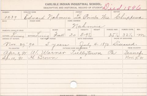 Edward Nahmais Student Information Card