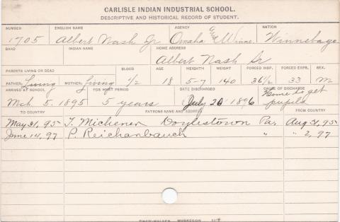 Albert H. Nash Student Information Card