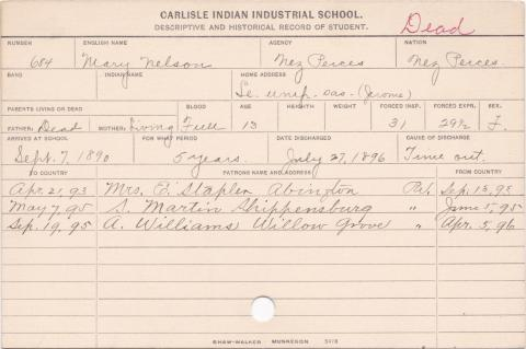 Mary Nelson Student Information Card