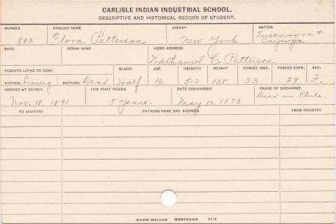 Flora Patterson Student Information Card