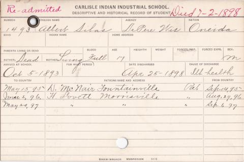 Albert Silas Student Information Card