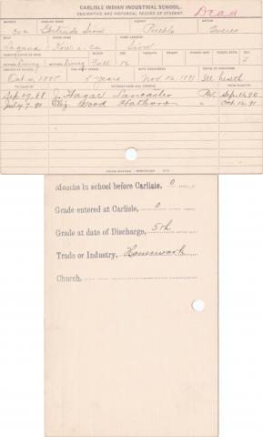 Gertrude Sion (Kow-i-ca) Student Information Card