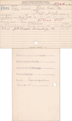 Lottie Sireech Student Information Card