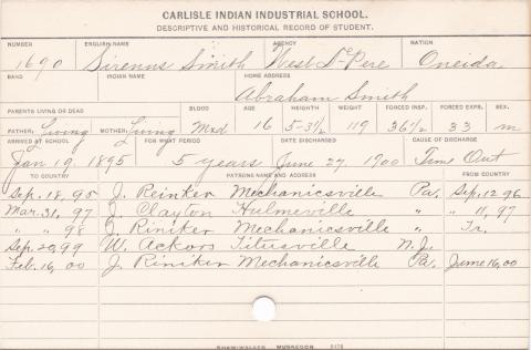 Sirenus Smith Student Information Card