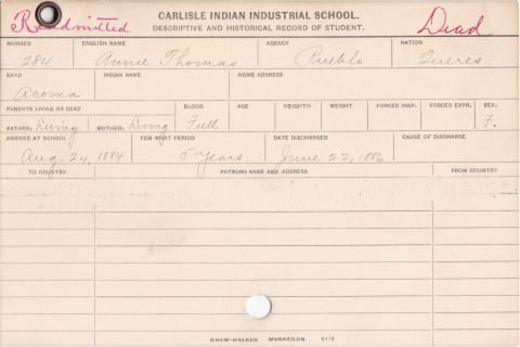 Annie Thomas Student Information Cards
