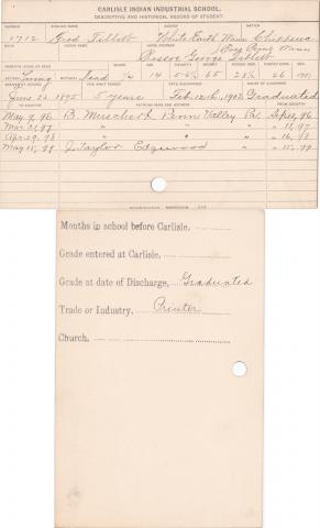Fred Tibbetts Student Information Card