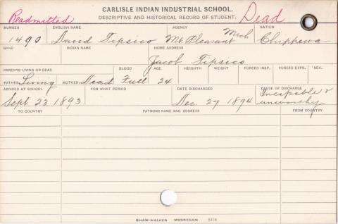 David Tipsico Student Information Card