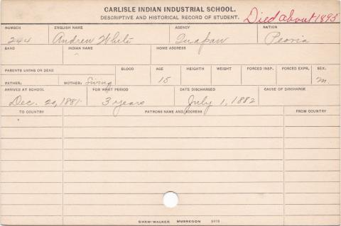Andrew White Student Information Card