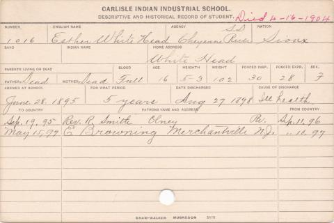 Esther White Head Student Information Card