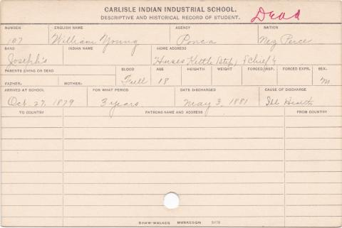 William Young Student Information Card