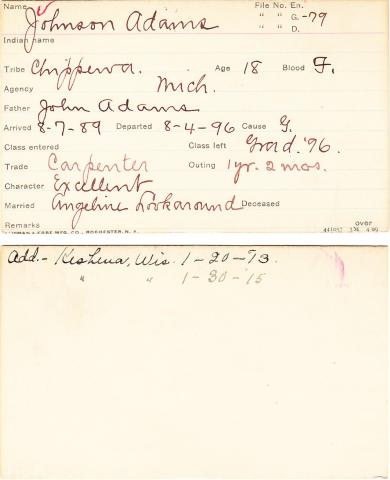Johnson Adams Student Information Card