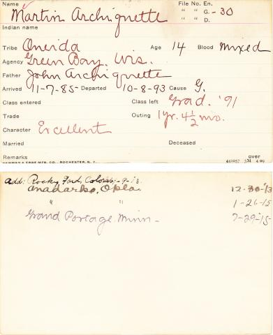 Martin Archiquette Student Information Card