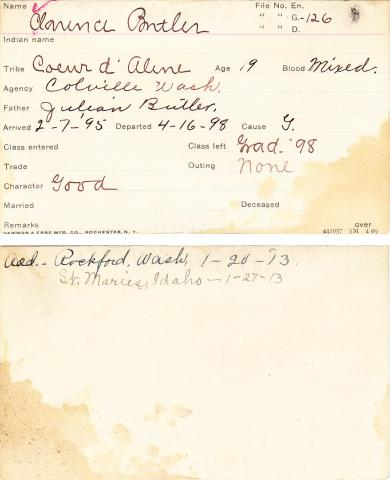 Clarence Butler Student Information Card