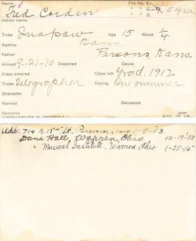 Fred Cardin Student Information Card