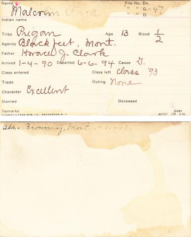 Malcolm Clark Student Information Card