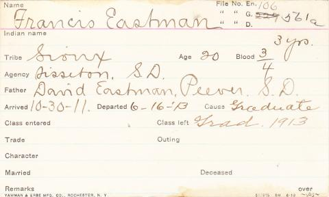 Francis Eastman Student Information Card