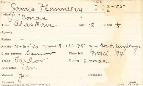 James Flannery (Conas) Student Information Card