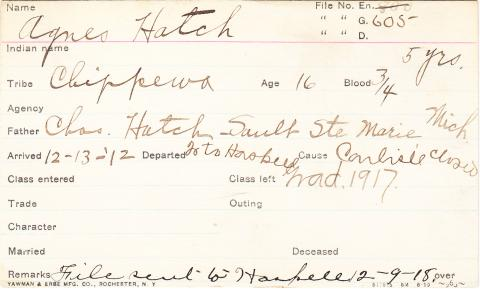 Agnes Hatch Student Information Card