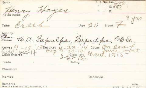 Henry Hayes Student Information Card