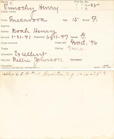 Timothy Henry Student Information Card