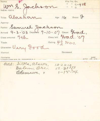 William S. Jackson Student Information Card