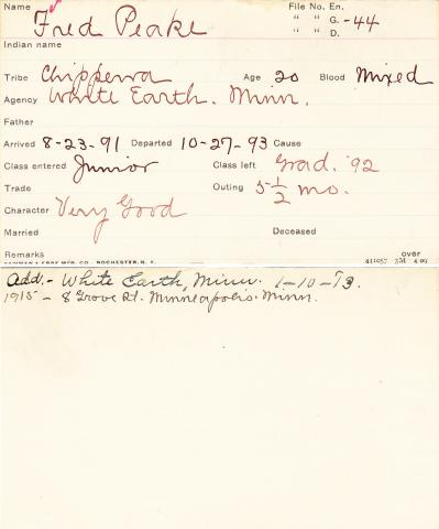 Fred Peake Student Information Card