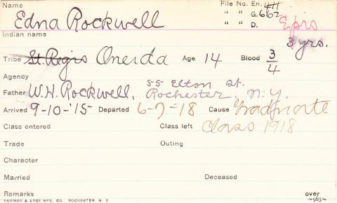 Edna Rockwell Student Information Card