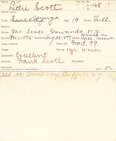 Lettie Scott Student Information Card