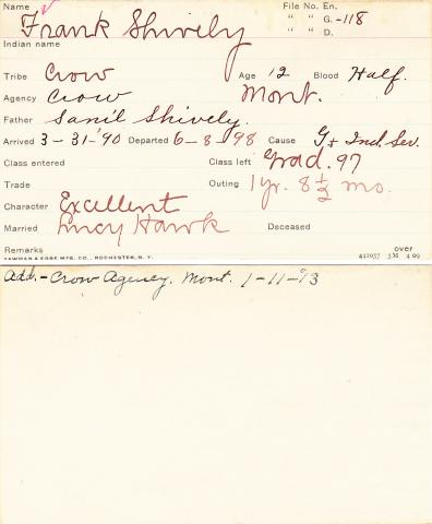 Frank Shively Student Information Card