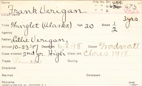 Frank Verigan Student Information Card