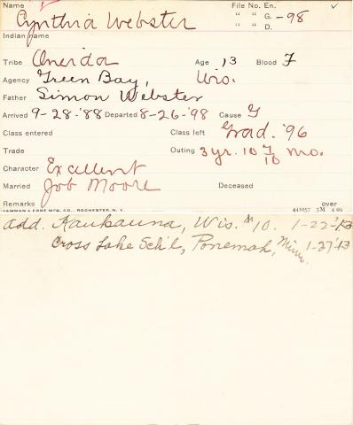 Cynthia Webster Student Information Card