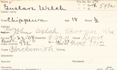 Gustave Welch Student Information Card