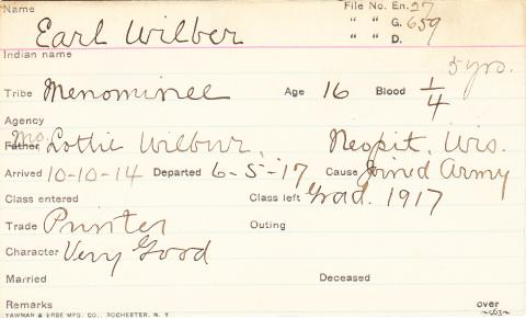 Earl Wilber Student Information Card