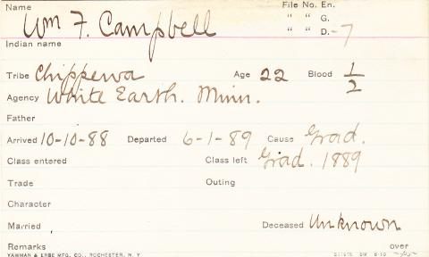 William Francis Campbell Student Information Card
