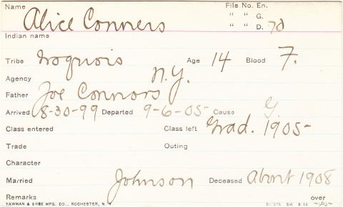Alice Connors Student Information Card