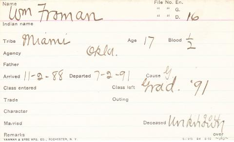 William Froman Student Information Card