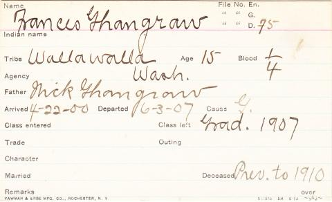 Frances Ghangrow Student Information Card